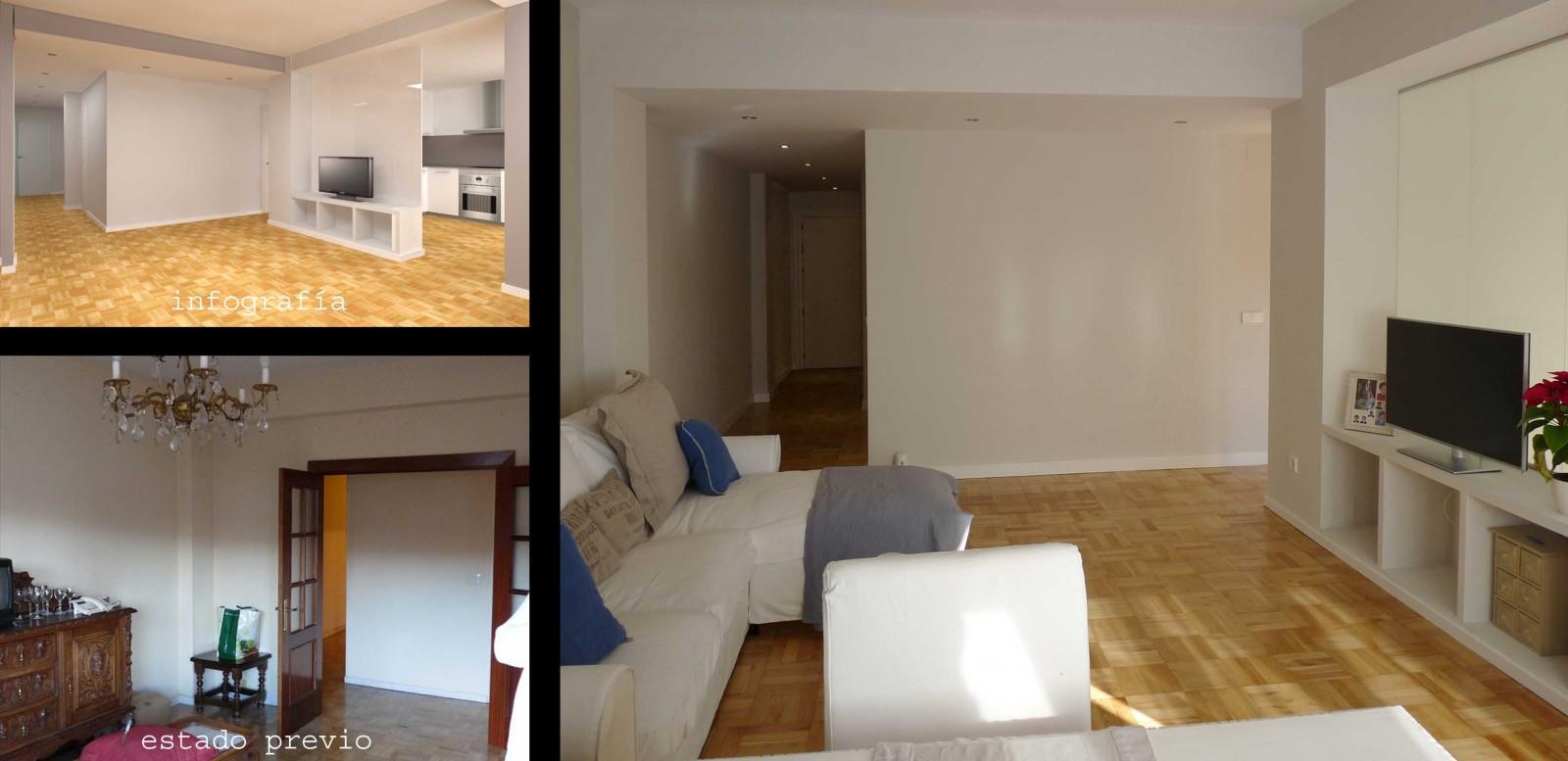 Se ensanchó el pasillo de acceso a la vivienda para que la claridad llegue hasta la entrada y también cupiese un mueble para almacenaje.