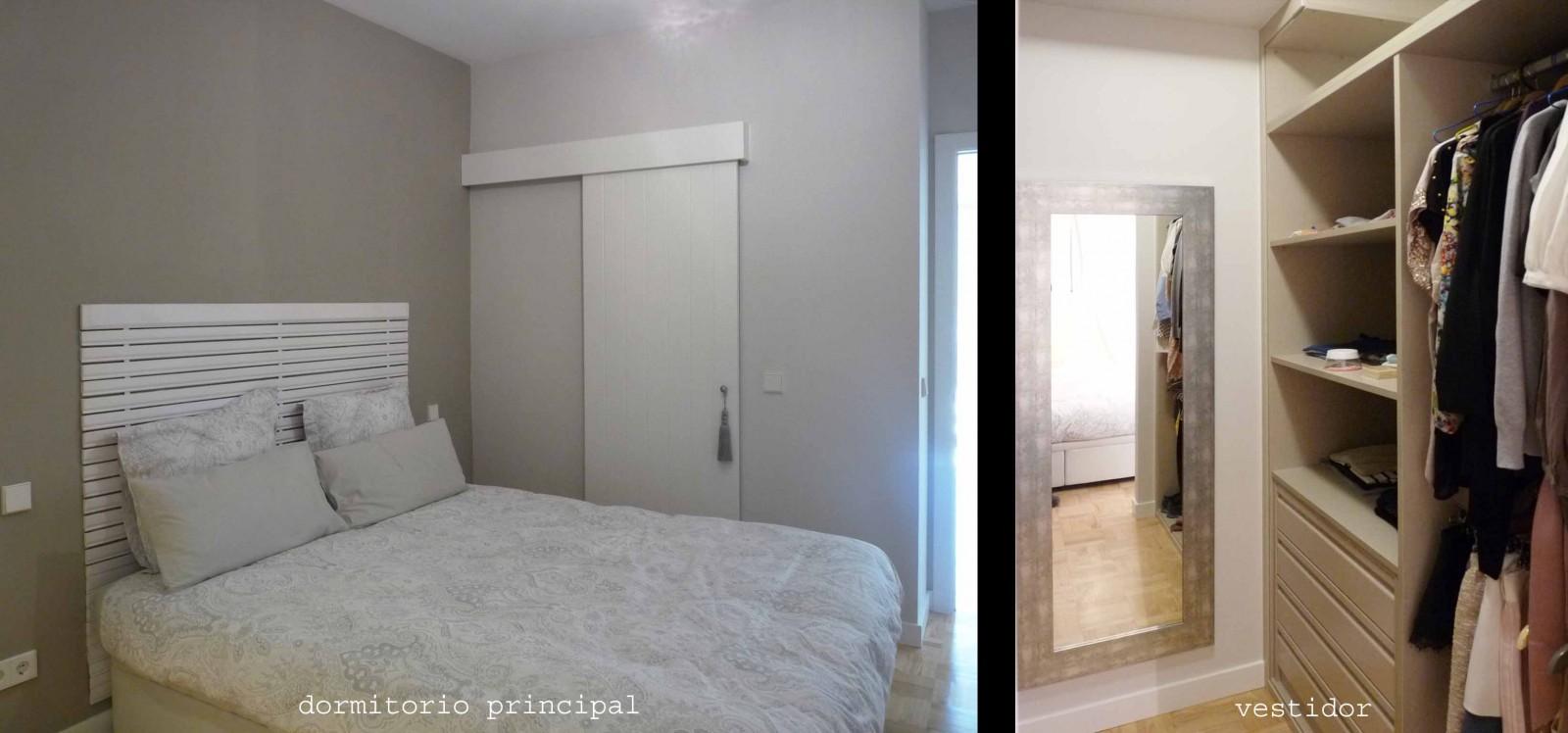 El dormitorio principal con vestidor y baño en suite.