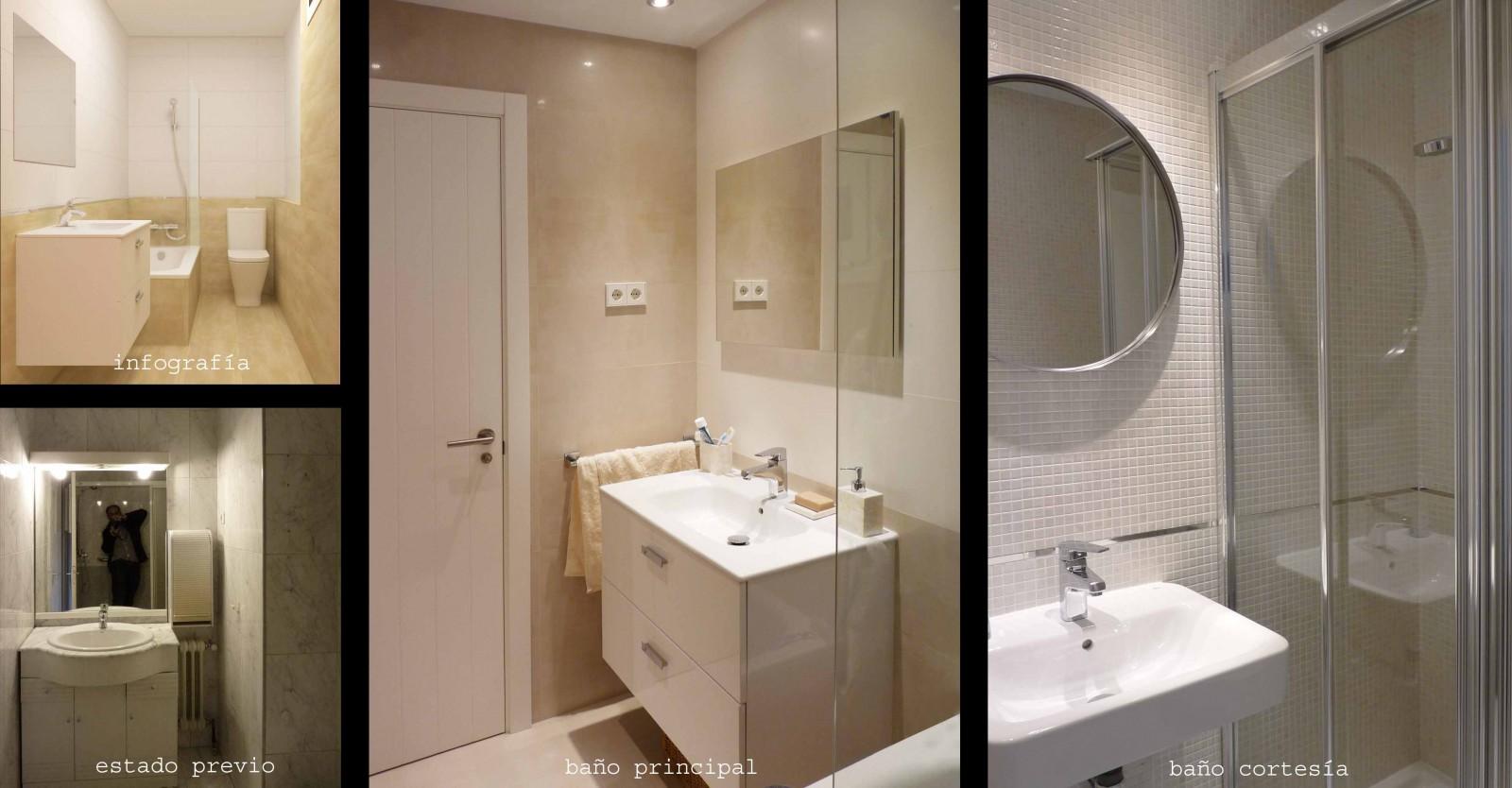 Se pasó de un baño y aseo a un baño en suite con bañera y baño de cortesía con ducha.