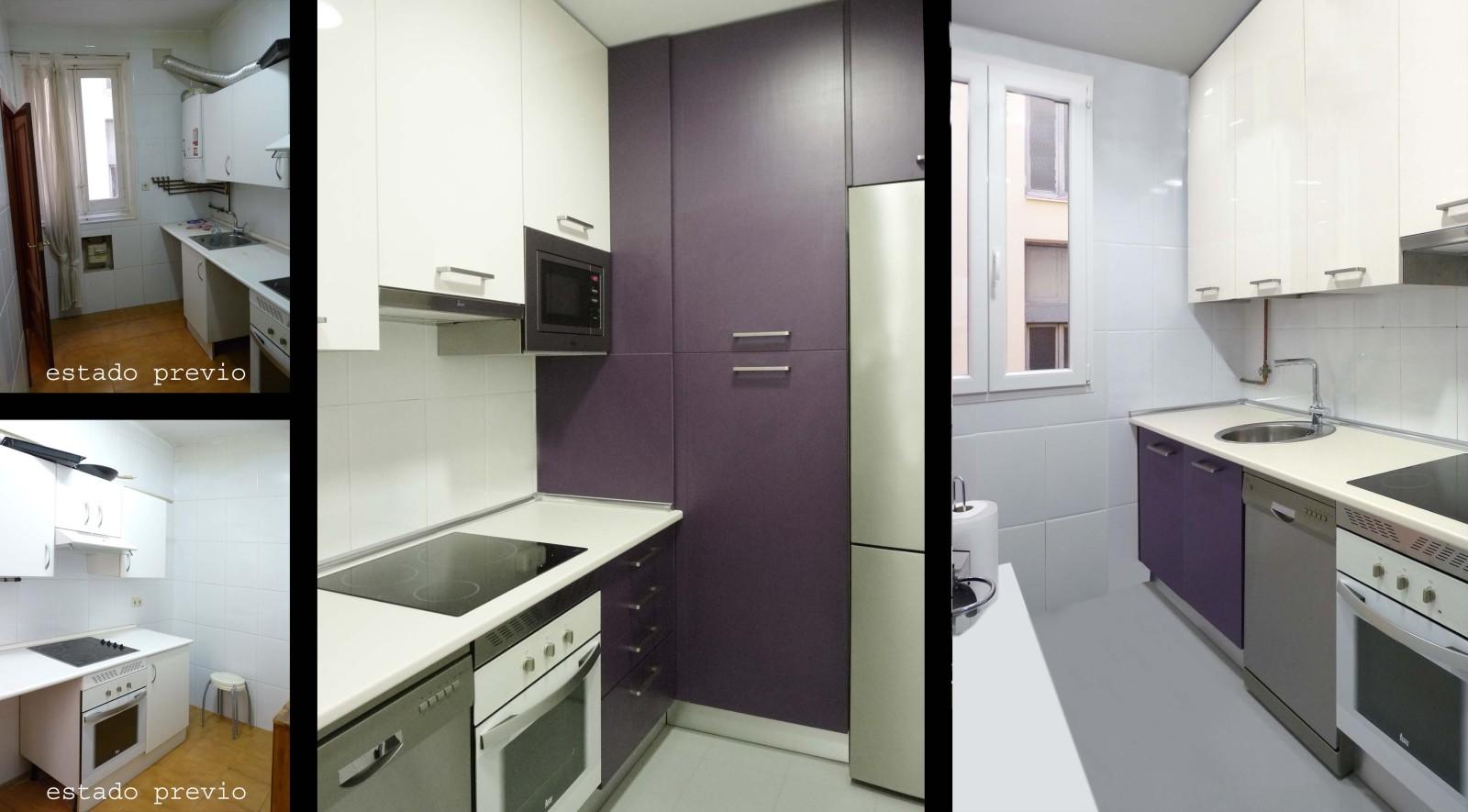 En la cocina se puso suelo nuevo y se cambió el mobiliario aprovechando al máximo el espacio para almacenaje.