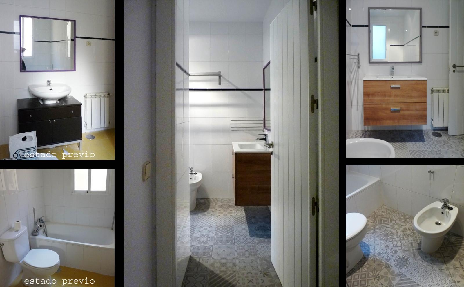 En el baño tan solo se puso un suelo nuevo y se cambió el mueble del lavabo.