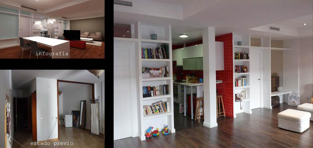 La cocina es pasante, así no se desaprovechan m2 en pasillos y queda abierta al salón.