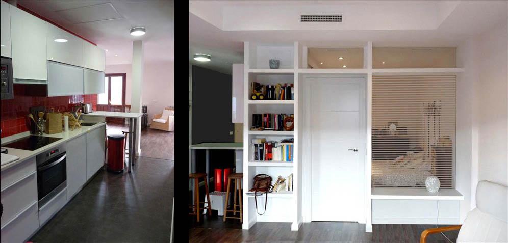 La habitaciones están separas del salón por un mueble librería de obra con un gran ventanal.