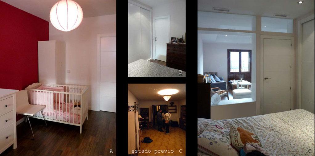 La luz natural de los balcones del salón llega a los dormitorios por los ventanales.