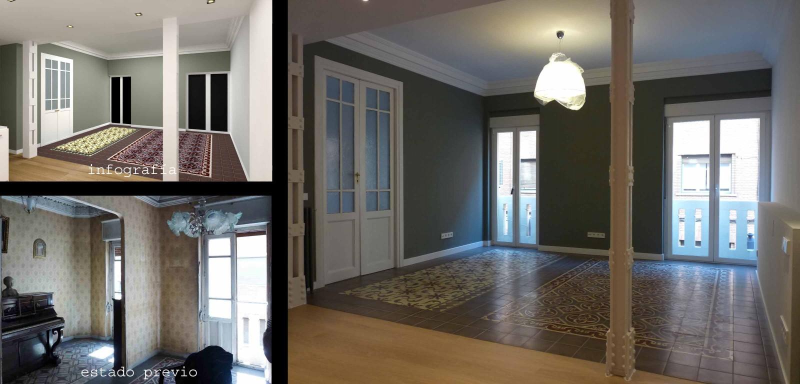 Se restauraron dos suelos de baldosa hidráulica originales que recolocamos en el salón a modo de alfombras.