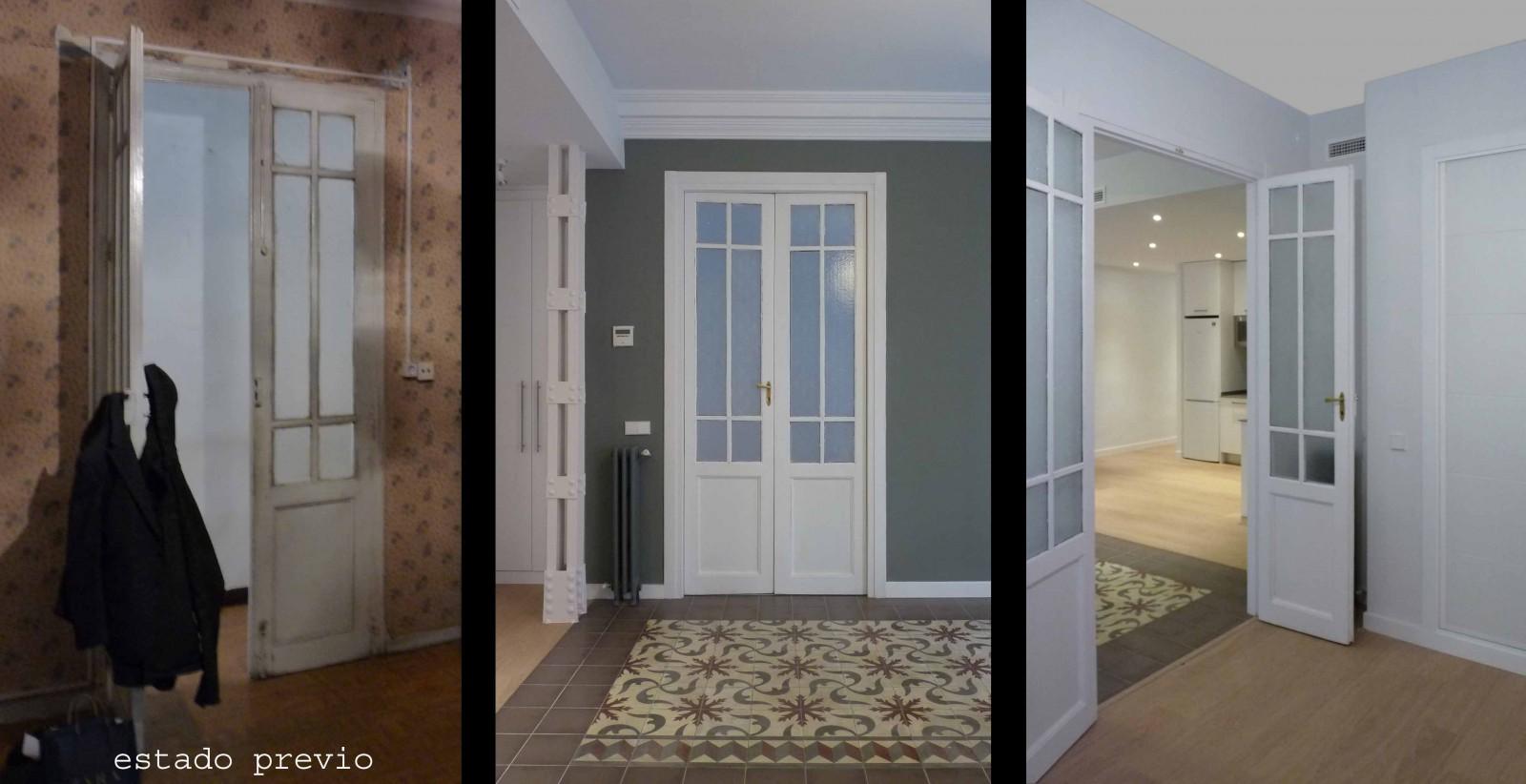 Puerta recuperada. Al ser doble la habitación que da al salón puede ser un estudio además de un dormitorio.