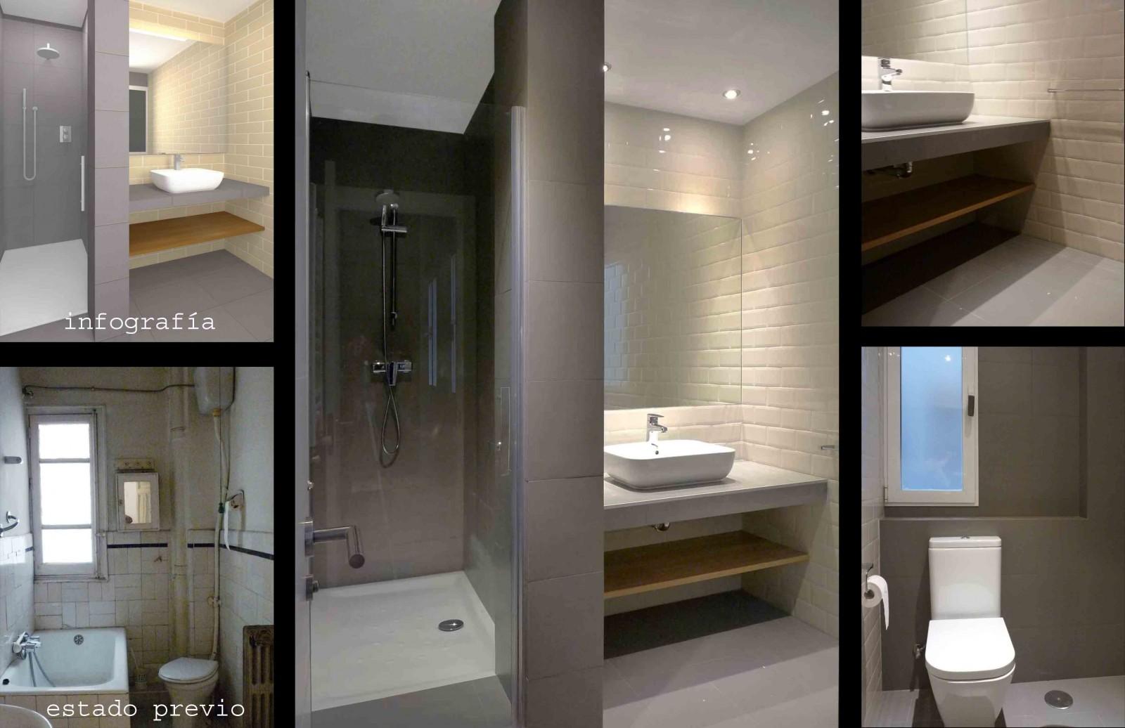 Baño en suite con el dormitorio principal. Azulejo retro en crema con baldosa porcelánica  de corte moderno.