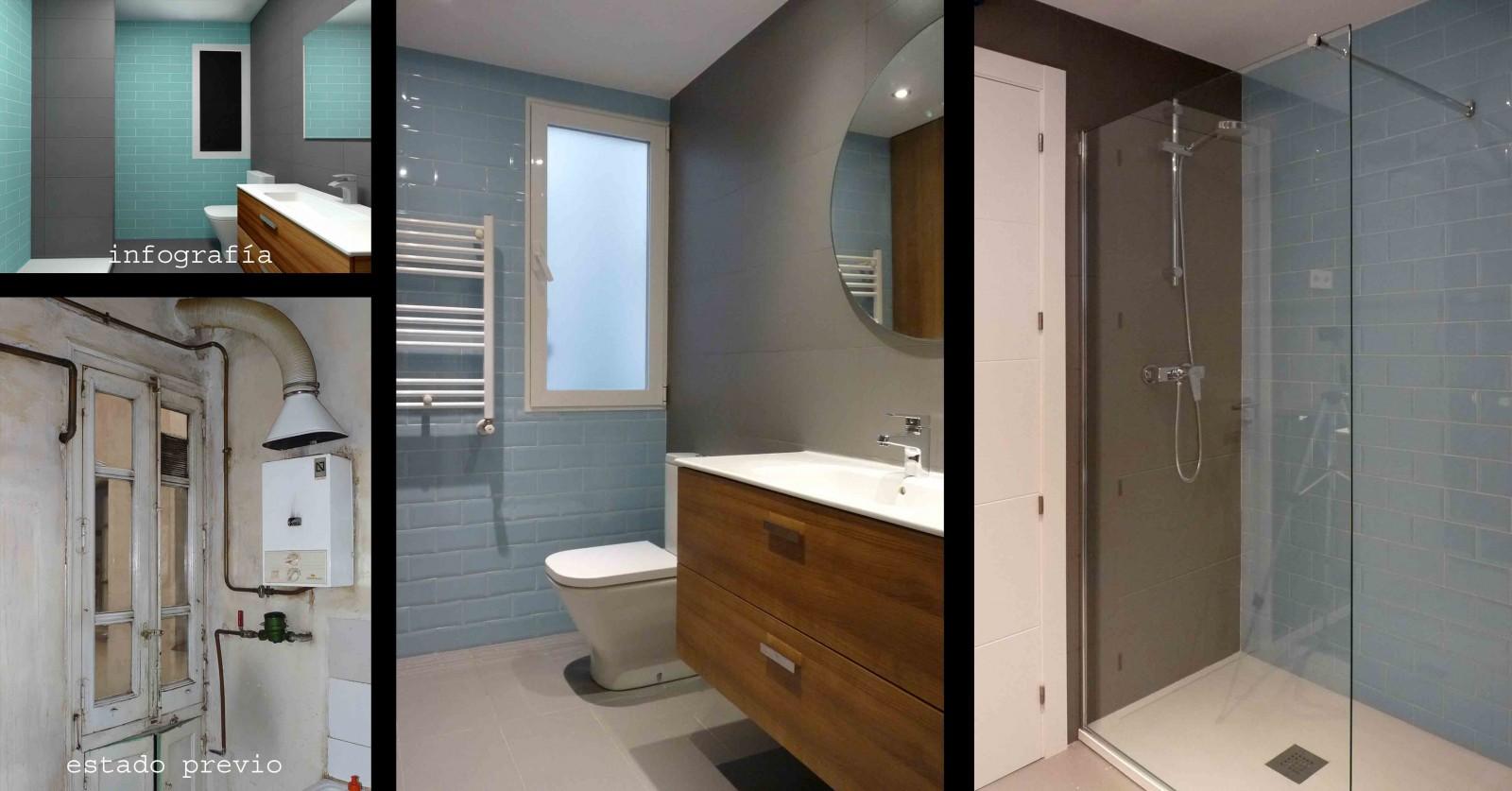Baño de cortesía con el mismo estilo del baño en suite pero en tonos azules.
