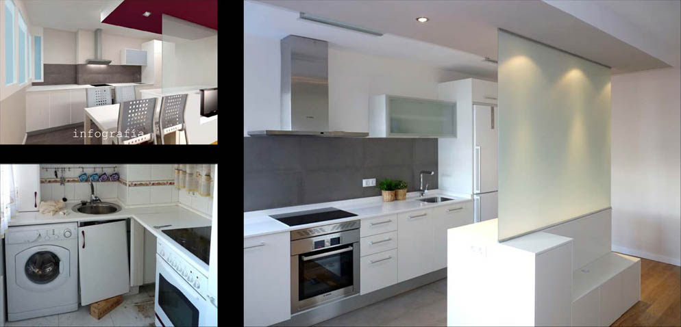 La cocina separada de la zona de estar por una isla + mampara, con las funciones de almacenaje y  mueble de tv.