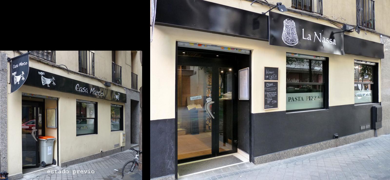 Estado previo y posterior de la fachada del restaurante.