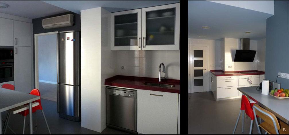 La distribución de la cocina se basó en ordenar las funciones de cocción, lavado y almacenaje.