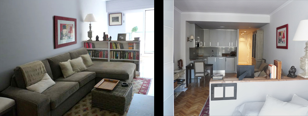 Un mueble bajo separa el salón del dormitorio al ser librería por un lado y cabecero por el otro.