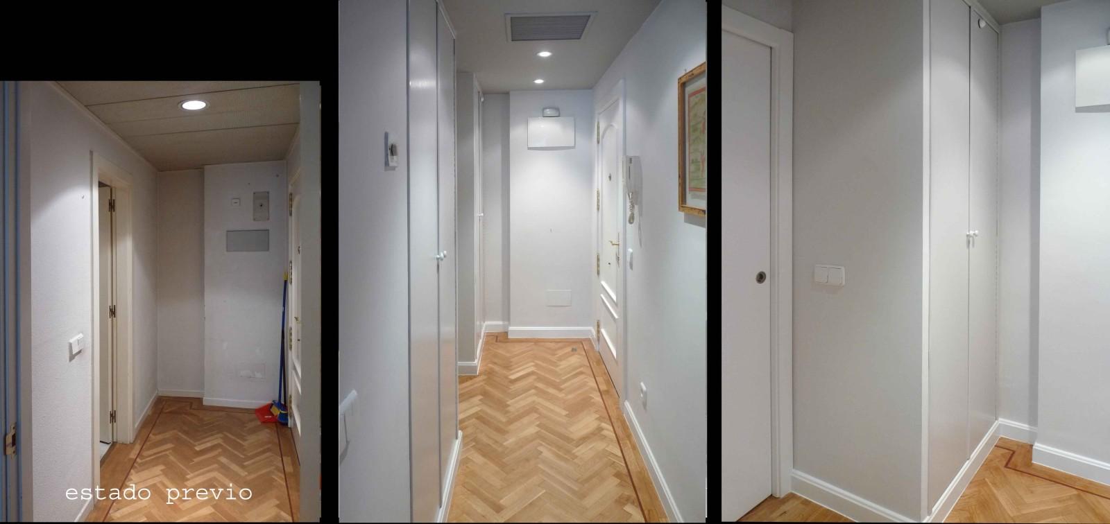 En el recibidor se construyeron dos armarios empotrados.