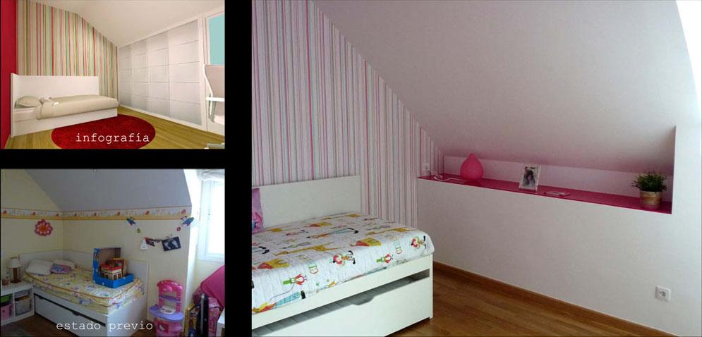 El dormitorio que dejó de ser de bebé y pasó a ser el de una chica.