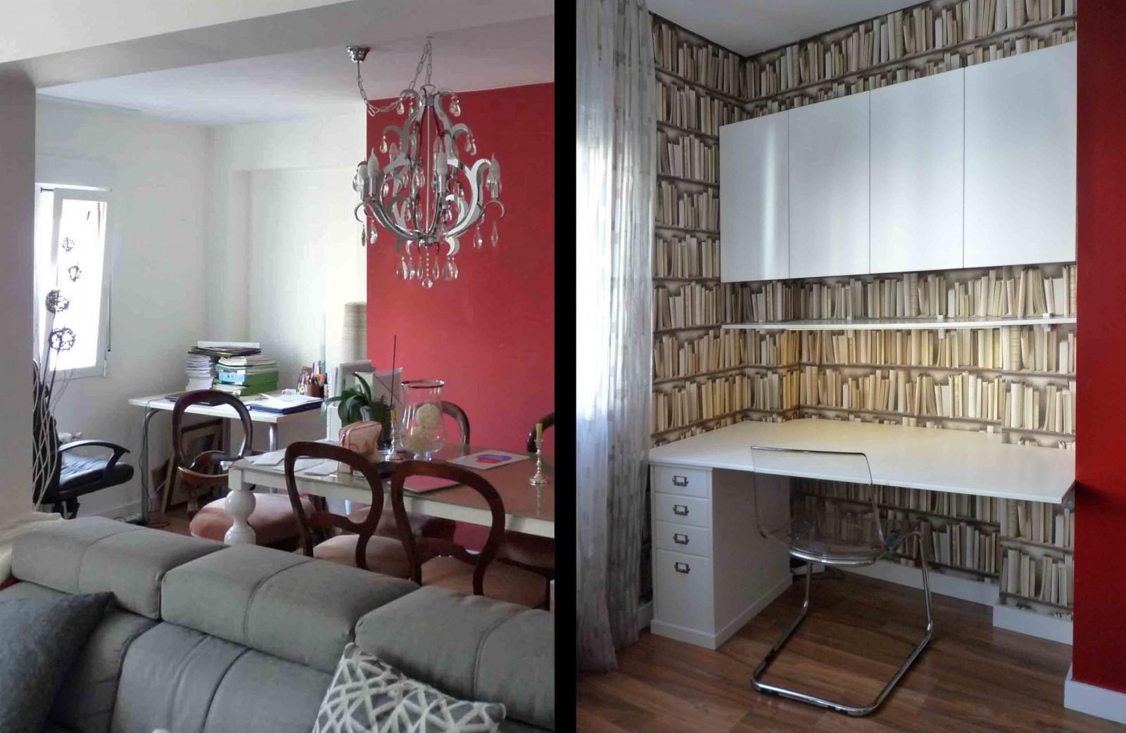 Muebles en laca blanca, sencillos para no restar protagonismo al papel pintado de libros, que delimita y realza la función de rincón de estudio.