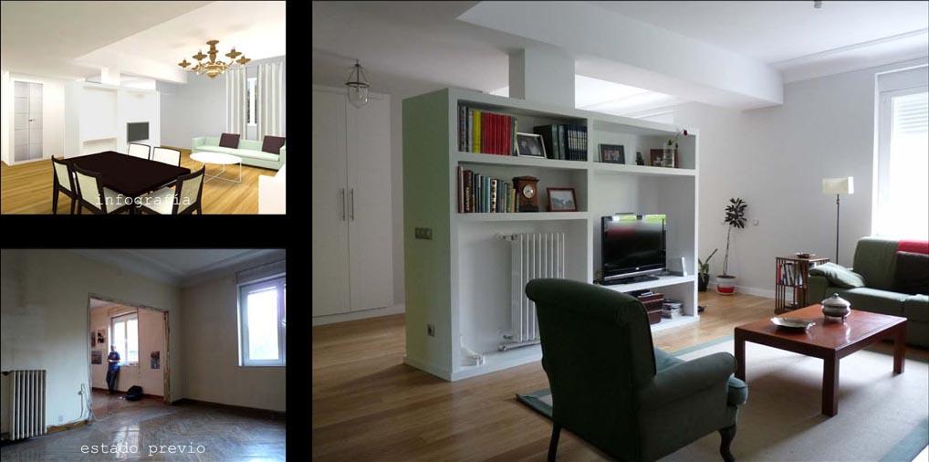 Un mueble librería de obra  compartimenta los espacios de recibidor, comedor y estar.