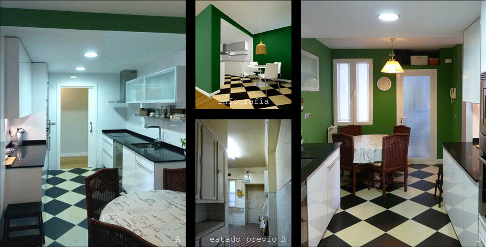 De la cocina destaca el suelo en damero  vintage acorde con la época de construcción del inmueble.