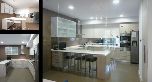 La cocina está separada del comedor por un mampara corredera para evitar olores.