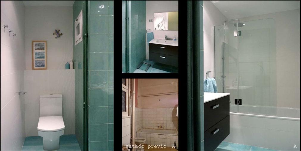 El baño de cortesía con un bonito cerámico esmaltado de estilo retro.