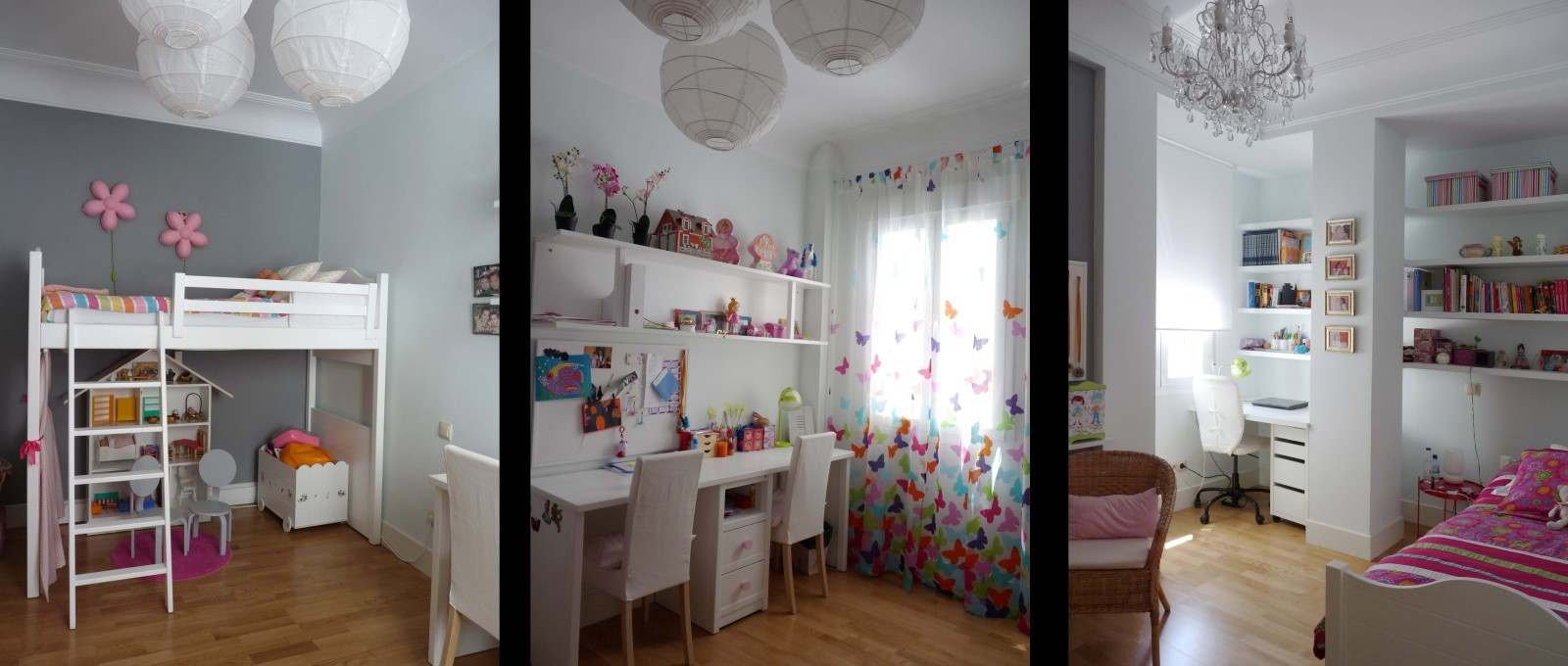 Los dormitorios de las niñas destaca la luminosidad por los contrastes con notas de color en los textiles.