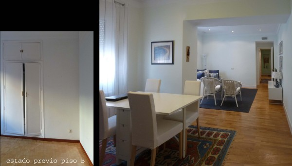 Un cuarto de juegos, a modo de habitación pasante, une las dos viviendas por el lado interior de la planta.