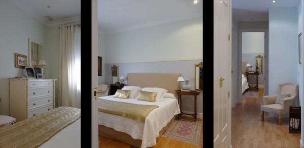 El dormitorio principal se actualizó el mobiliario y se apostó por potenciar la luminosidad usando tonos dorados.