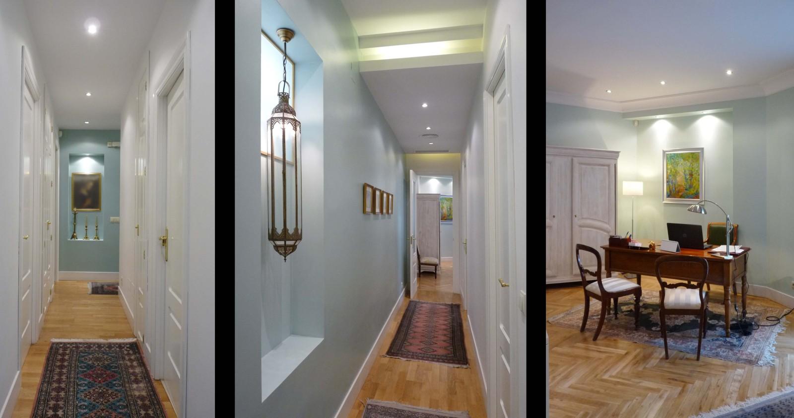 En los pasillos se rompe el efecto tubo al contrastar colores y mejorar la iluminación.